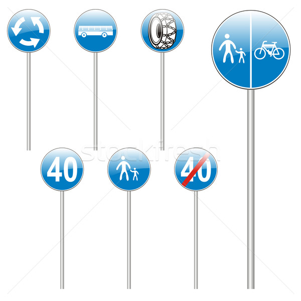 Stock photo: isolated european road signs
