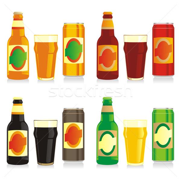 Сток-фото: изолированный · различный · пива · бутылок · очки