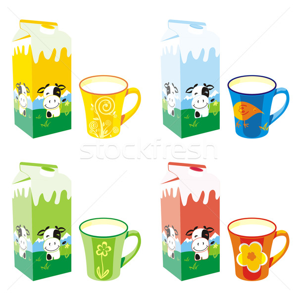 isolated milk carton boxes and mugs Stock photo © PilgrimArtworks
