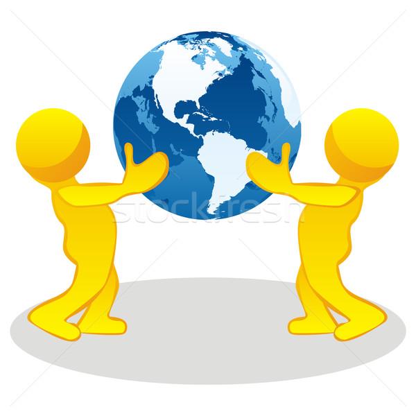 定型化された 人 地球 世界中 ストックフォト © PilgrimArtworks
