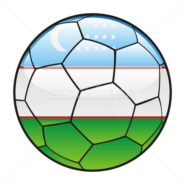 Узбекистан флаг футбольным мячом Футбол спорт футбола Сток-фото © PilgrimArtworks
