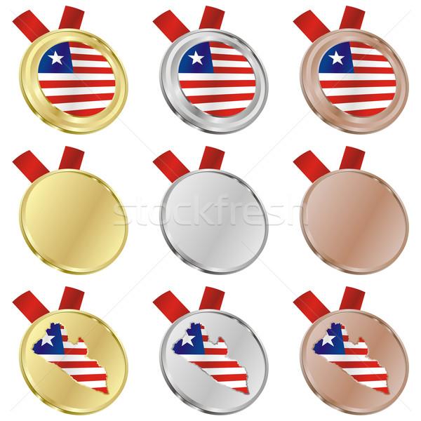Libéria vetor bandeira medalha formas Foto stock © PilgrimArtworks