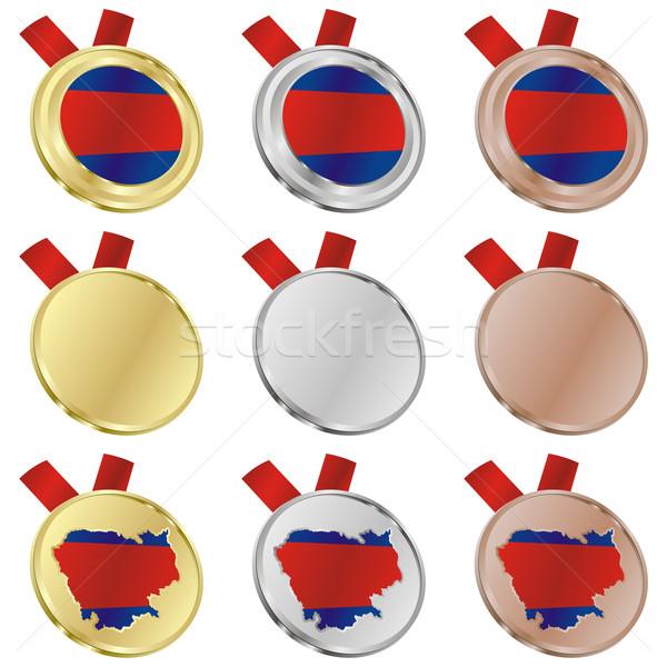 Kambodzsa vektor zászló érem formák szerkeszthető Stock fotó © PilgrimArtworks