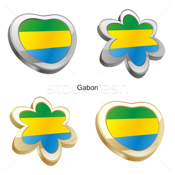 Gabão bandeira coração flor forma Foto stock © PilgrimArtworks