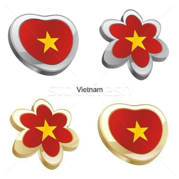 Вьетнам флаг сердце цветок форма Сток-фото © PilgrimArtworks