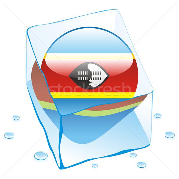 Swaziland bouton pavillon congelés glaçon Photo stock © PilgrimArtworks