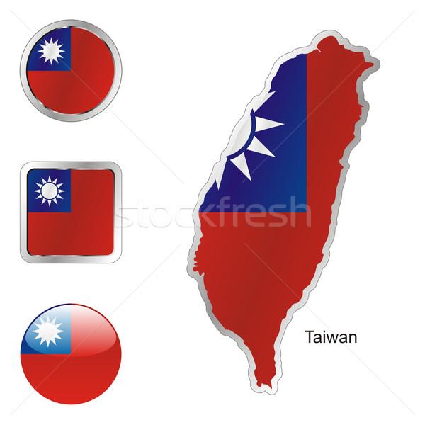 Tayvan harita İnternet düğmeler biçim düzenlenebilir bayrak Stok fotoğraf © PilgrimArtworks