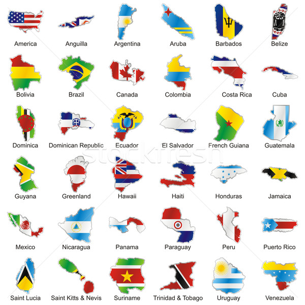 Amerikaanse vlaggen kaart vorm details vector Stockfoto © PilgrimArtworks
