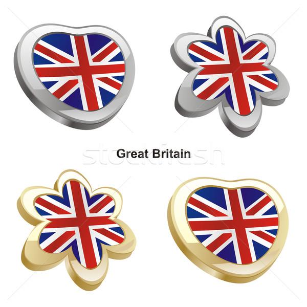 Nagy-Britannia zászló szív virág forma szerkeszthető Stock fotó © PilgrimArtworks