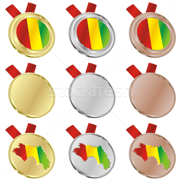Guiné vetor bandeira medalha formas Foto stock © PilgrimArtworks