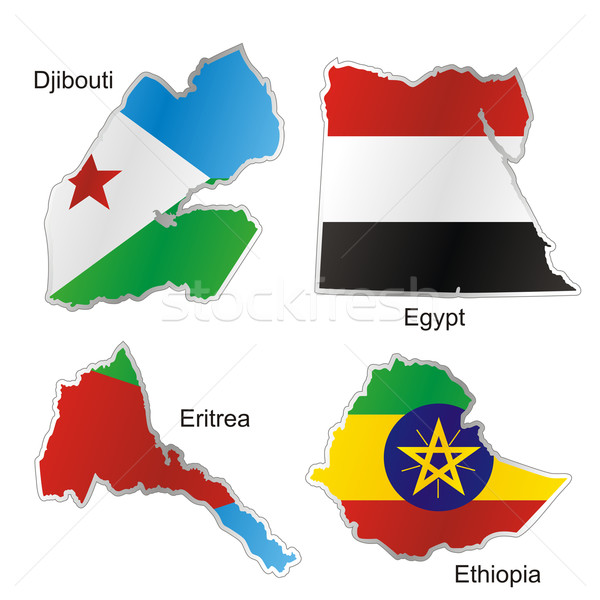 Сток-фото: изолированный · африканских · флагами · карта · форма · флаг