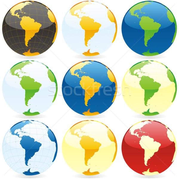 Stockfoto: Gekleurd · globes · vector · aarde · Blauw