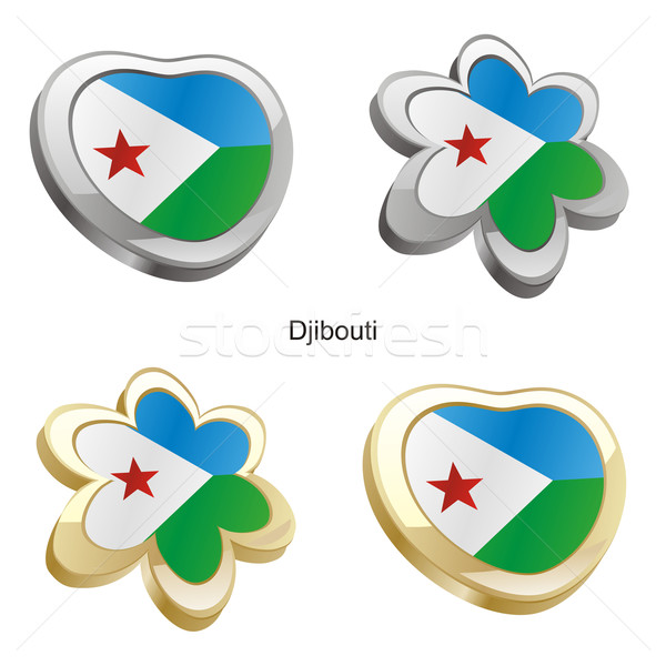 djibouti flag in heart and flower shape Stock photo © PilgrimArtworks