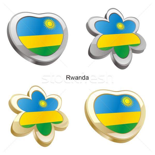 Руанда флаг сердце цветок форма Сток-фото © PilgrimArtworks