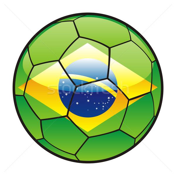 Бразилия флаг футбольным мячом Футбол спорт футбола Сток-фото © PilgrimArtworks