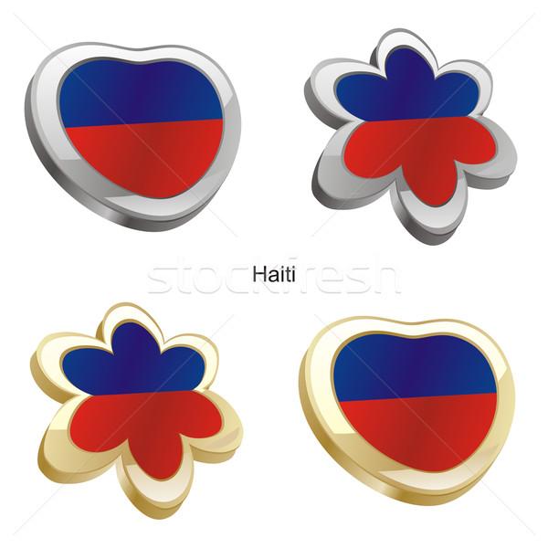 Haiti bandiera cuore fiore Foto d'archivio © PilgrimArtworks