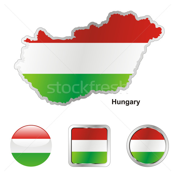 Hungria mapa teia botões formas Foto stock © PilgrimArtworks