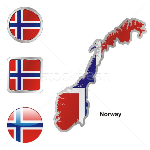 Норвегия карта веб Кнопки Сток-фото © PilgrimArtworks