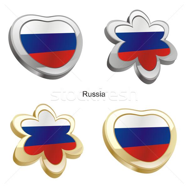 Rusland vlag hart bloem vorm Stockfoto © PilgrimArtworks