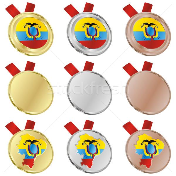 エクアドル ベクトル フラグ 金メダル ストックフォト © PilgrimArtworks