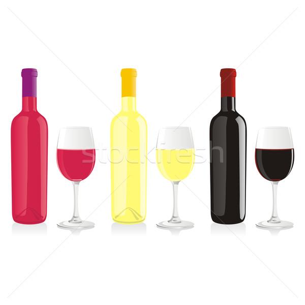 Isolé vin bouteilles verres fête Photo stock © PilgrimArtworks