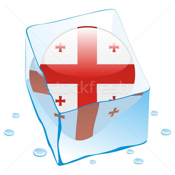 Geórgia botão bandeira congelada ice cube Foto stock © PilgrimArtworks