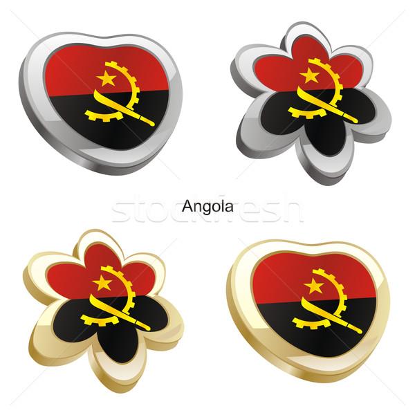 Ангола флаг сердце цветок форма Сток-фото © PilgrimArtworks