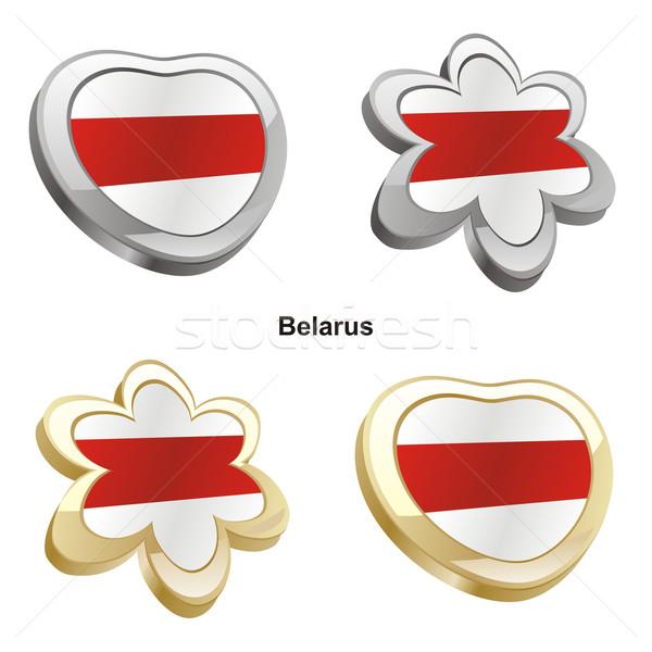 Belarus bayrak kalp çiçek biçim düzenlenebilir Stok fotoğraf © PilgrimArtworks