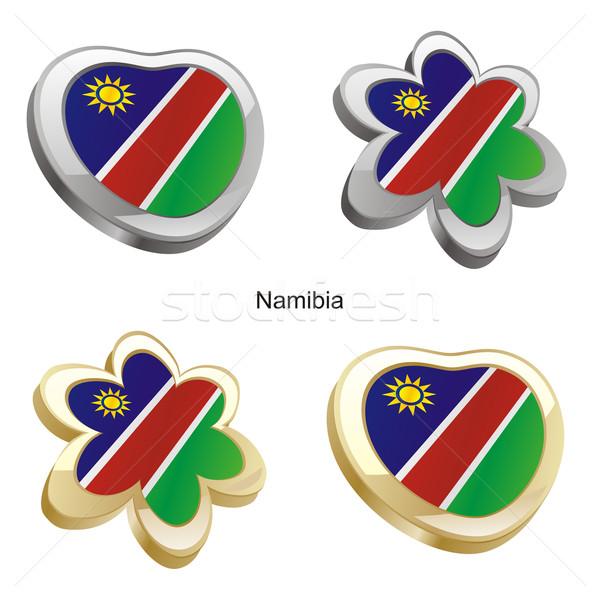 Namíbia zászló szív virág forma szerkeszthető Stock fotó © PilgrimArtworks