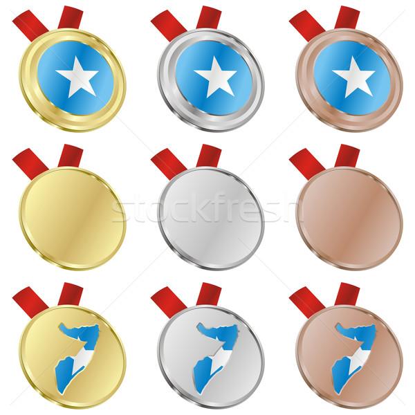 ソマリア ベクトル フラグ 金メダル ストックフォト © PilgrimArtworks