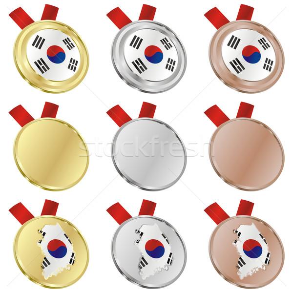 Corea del Sur vector bandera medalla formas Foto stock © PilgrimArtworks