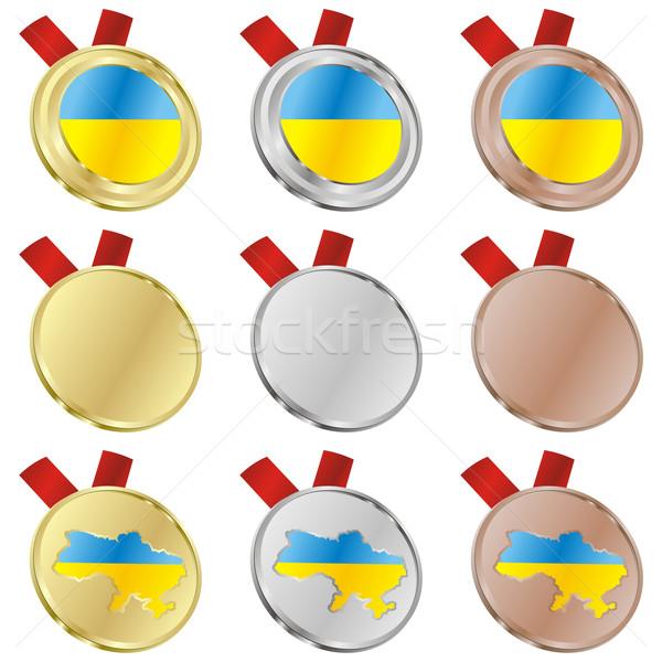 ウクライナ ベクトル フラグ 金メダル ストックフォト © PilgrimArtworks