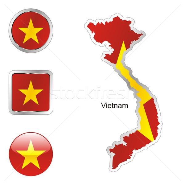Vietnam harita İnternet düğmeler biçim düzenlenebilir bayrak Stok fotoğraf © PilgrimArtworks
