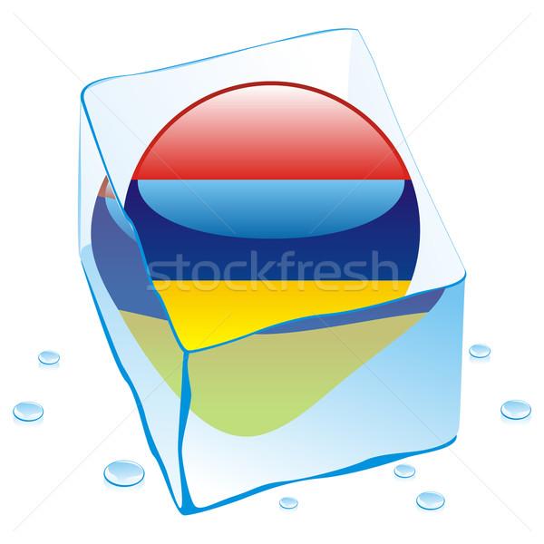 Armênia botão bandeira congelada ice cube Foto stock © PilgrimArtworks