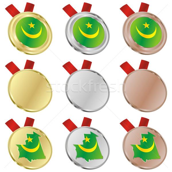 モーリタニア ベクトル フラグ 金メダル ストックフォト © PilgrimArtworks