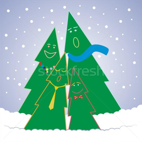 Vicces karácsony fák énekel szerkeszthető részletek Stock fotó © PilgrimArtworks