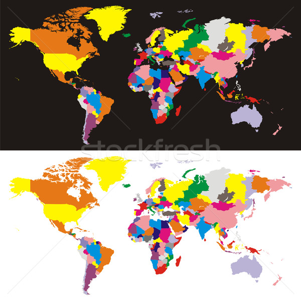 Foto stock: Vector · mapa · del · mundo · todo · países · diferente