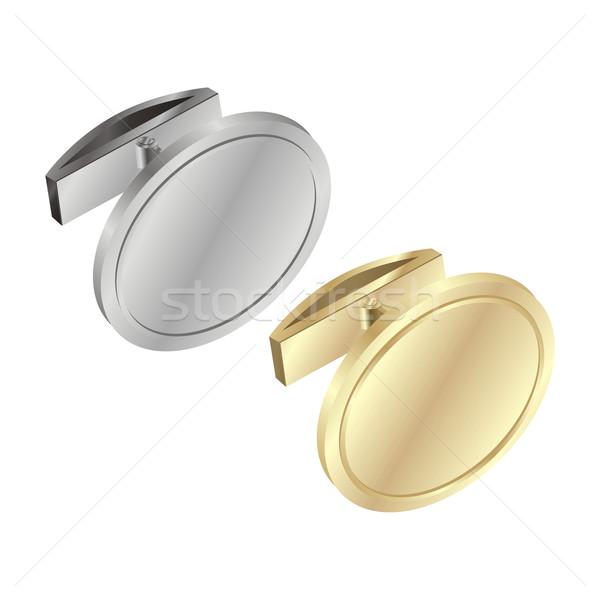 Сток-фото: изолированный · манжета · ссылками · объект · серебро