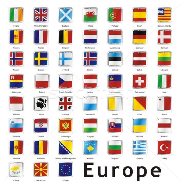 Aislado europeo banderas signo bandera Foto stock © PilgrimArtworks
