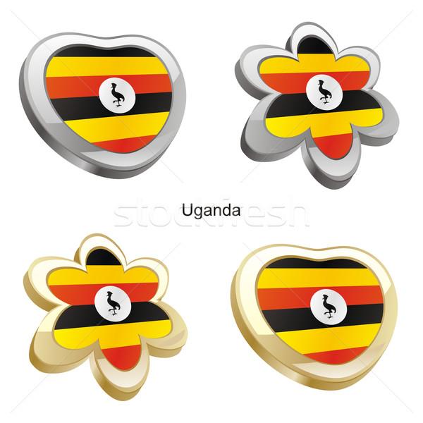 Stock fotó: Uganda · zászló · szív · virág · forma · szerkeszthető