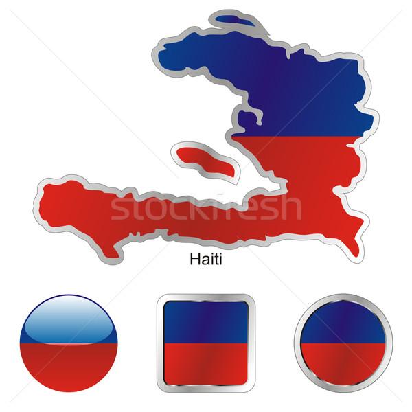 Haiti harita web düğmeler düzenlenebilir Stok fotoğraf © PilgrimArtworks