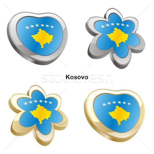 Kosovo bandeira coração flor forma Foto stock © PilgrimArtworks