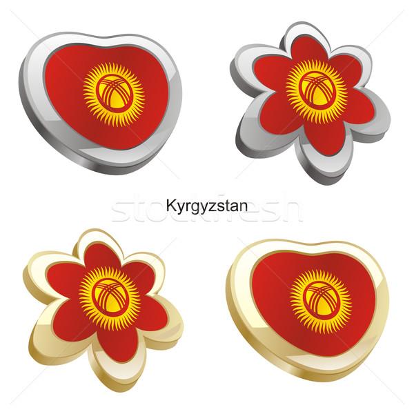 Kırgızistan bayrak kalp çiçek biçim düzenlenebilir Stok fotoğraf © PilgrimArtworks