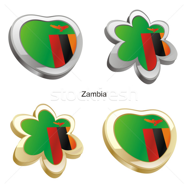 Zambia vlag hart bloem teken Stockfoto © PilgrimArtworks