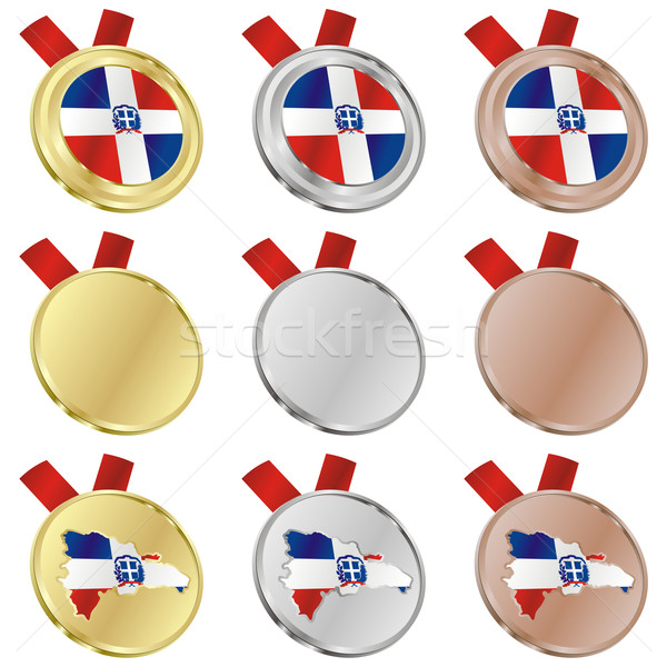 dominican republic vector flag in medal shapes Stock photo © PilgrimArtworks