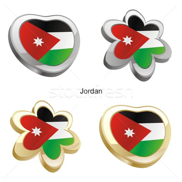 Jordania banderą serca kwiat Zdjęcia stock © PilgrimArtworks