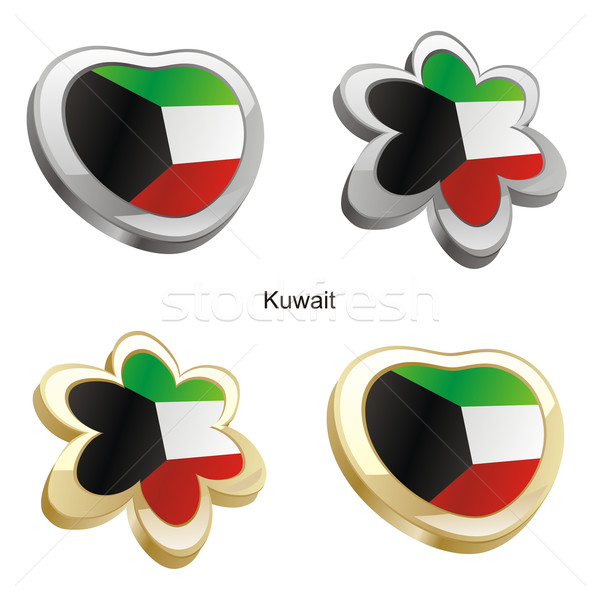 Кувейт флаг сердце цветок форма Сток-фото © PilgrimArtworks