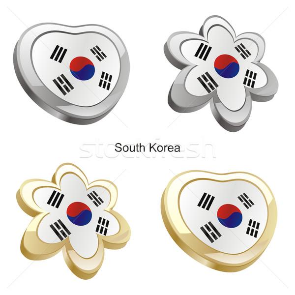 south korea flag in heart and flower shape Stock photo © PilgrimArtworks