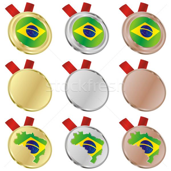 Stok fotoğraf: Brezilya · vektör · bayrak · madalya · düzenlenebilir