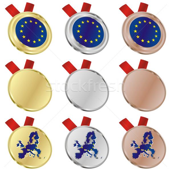 Európai szövetség vektor zászló érem formák Stock fotó © PilgrimArtworks